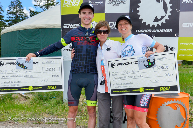 KOM winner Squire and QOM winner Farina with Tiffany Swindlehurst