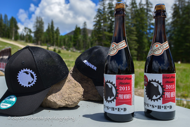 "winner's hats and ""crushed"" beer  - life is good"
