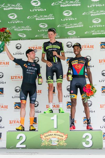 Stage 6 podium (L-R):  Woods (Optum Kelly Benefits) Dombrowski (Garmin Cannondale) Berhane (MTN Qhubeka)