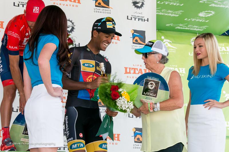Natnael Berhane (MTN Qhubeka) accepts the  3rd place award on Stage 7 2015 Tour of Utahdaverphoto.com