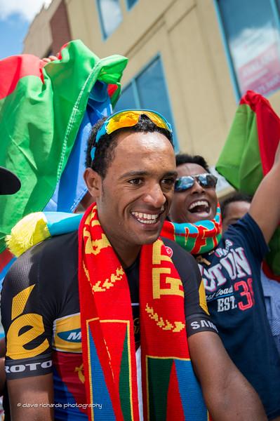 Natnael Berhane (MTN Qhubeka) wears the Eritrean colors after placing 3rd on Stage 7 2015 Tour of Utahdaverphoto.com