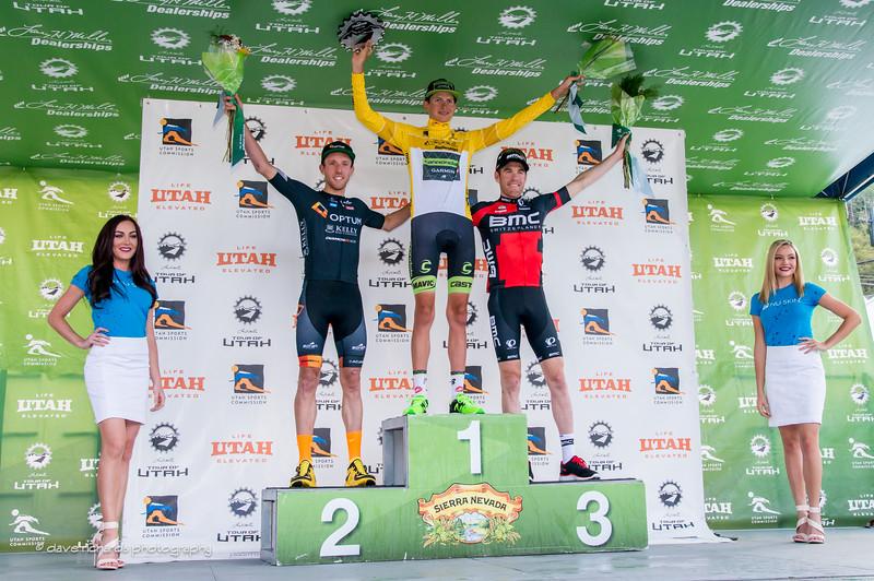 final overall top three podium 2015 Tour of Utah (L-R) Woods (Optum Kelly Benefits), Do browski (Garmin Cannondale), Bookwalter (BMC)daverphoto.com