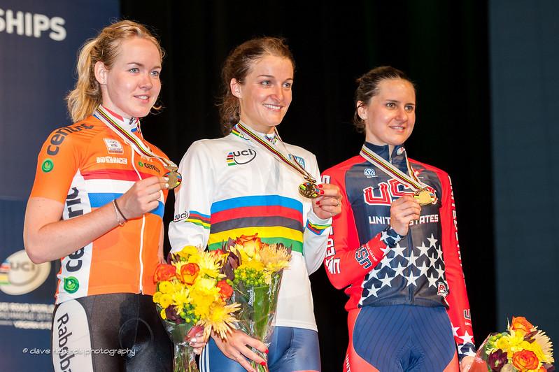 Elite Women's podium L-R: Silver-Van Der Breggen(Netherlands), Gold-Armitstead (Great Britain), Bronze-Guarnier (USA), 2015 UCI World Road Championships