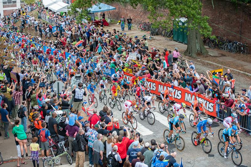 sheer pandemonium on the 23rd Street climb, Elite Men's Road Race, 2015 UCI World Cycling Championships. daverphoto.com