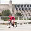 Katusha rider out on the bridge by the hydro dam, Stage 6 Time Trial in Folsom, 2016 Amgen Tour of California