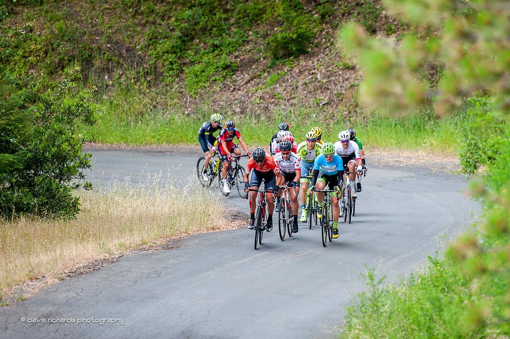 Breakaway on the King Ridge Road climb, Stage 7, 2016 Amgen Tour of California
