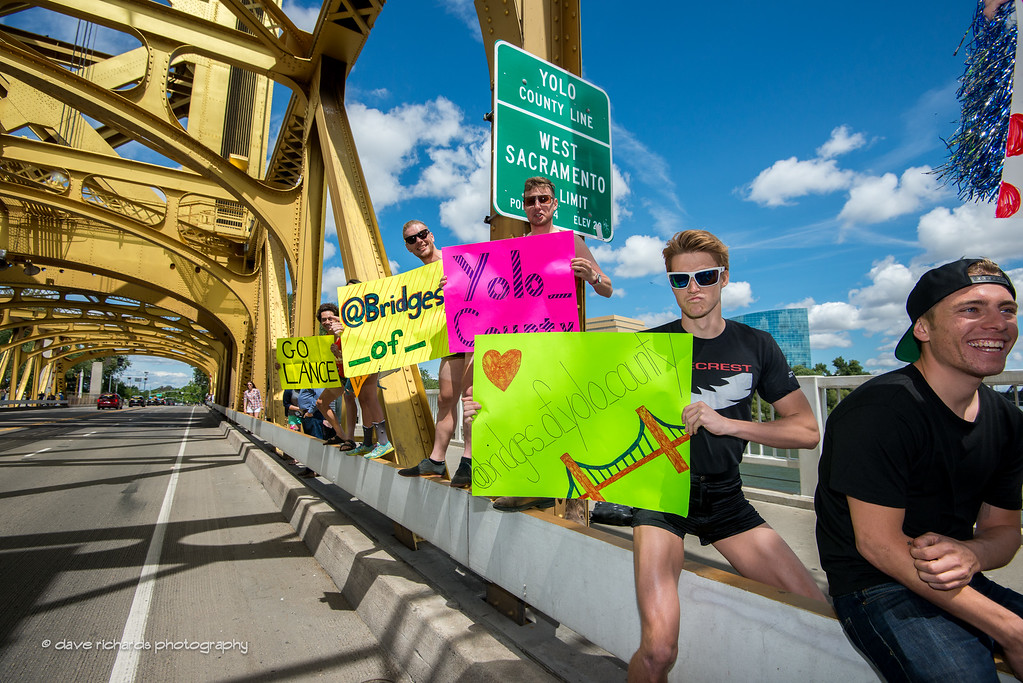 enthusiastic fans (but a little out of date ???) on Tower Bridge, Stage 8, 2016 Amgen Tour of California