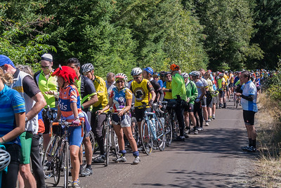2nd Place (tie):  Christine, Greg and 2000 fellow cyclists, waiting to descend Weaver Stickum Rd, Cycle Oregon