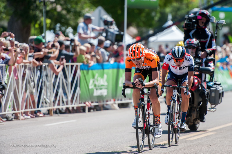 The breakway struggles to stay out front of the final circuit of Stage 1, 2016 Tour of Utah