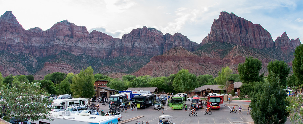 The team buses file in to Zion Natational Park for the start of Stage 1, 2016 Tour of Utah