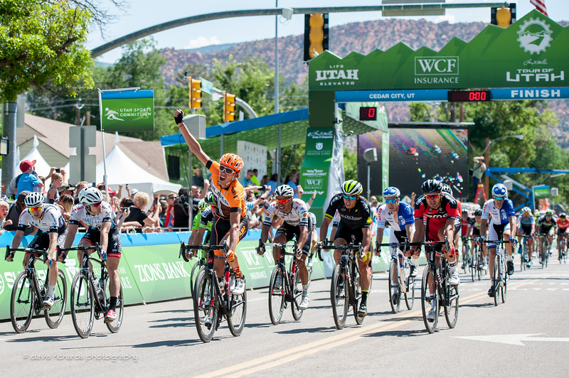 Kristofer Dahl (Silber Pro Cycling) pumps his fist celebrating his win of  Stage 1, 2016 Tour of Utah
