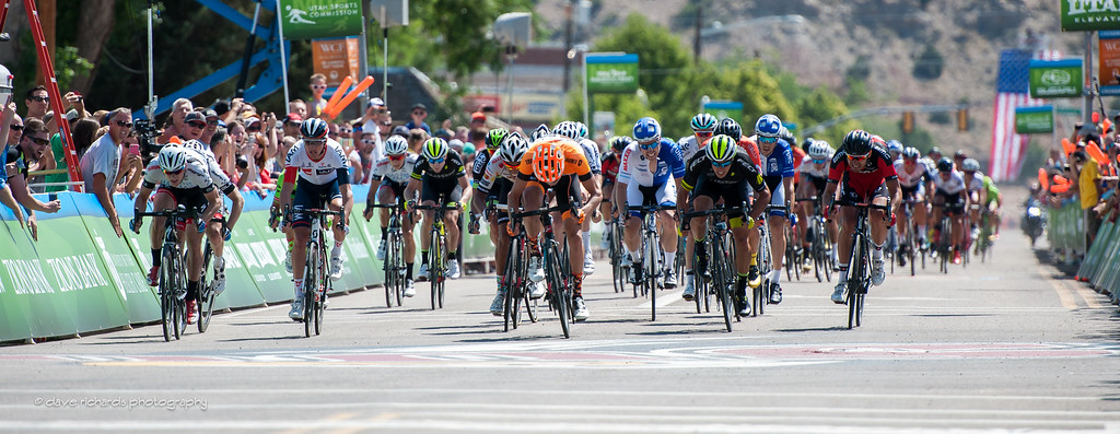 Kristofer Dahl (Silber Pro Cycling) outsprints the peloton to win Stage 1, 2016 Tour of Utah