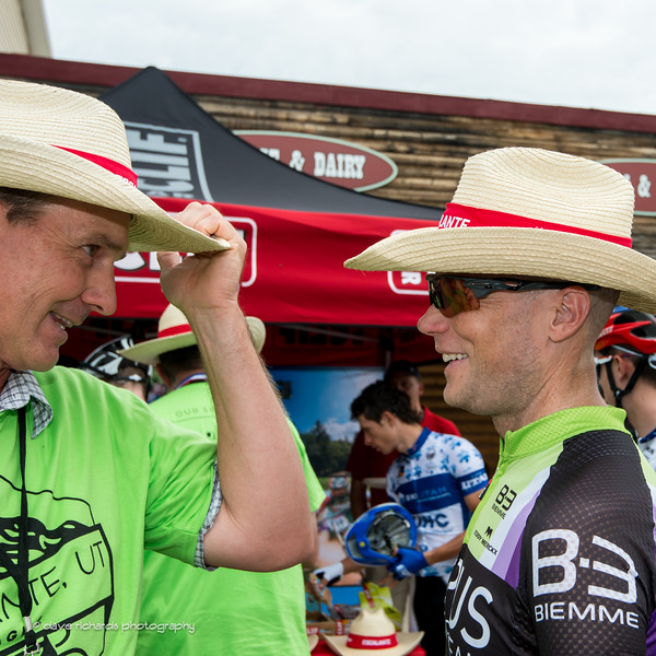 Chris Horner (Lupus Racing) compares the fit of his new cowboy hat, Stage 2 2016 Tour of Utah