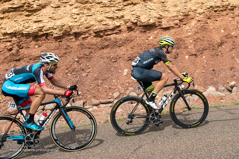 Carpenter (Holowesko/Citadel Hincapie)  and Campanioni (Jamis) hammer the final climb out on Teasdale Road before the finish of Stage 2, 2016 Tour of Utah