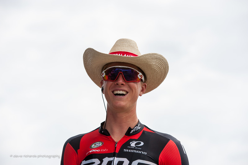 TJ Eisenhart (BMC Racing Team) loves his new cowboy hat handed out by the people of Escalante, Utah at the start of Stage 2 2016 Tour of Utah