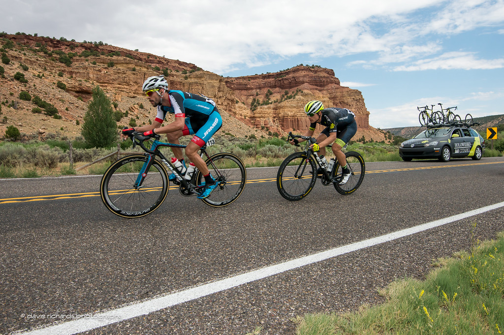 the breakaway of Campanioni (Jamis) and Carpenter (Holowesko/Citadel Hincapie) hammering in to Torrey, Utah for the finish of Stage 2, 2016 Tour of Utah