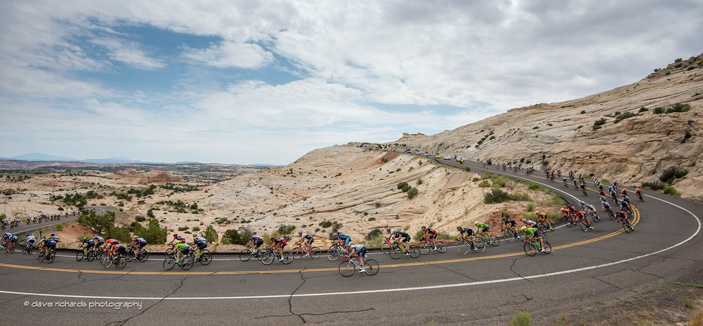 big, fast sweeper through the sandstone formations above Calf Creek, Stage 2, 2016 Tour of Utah