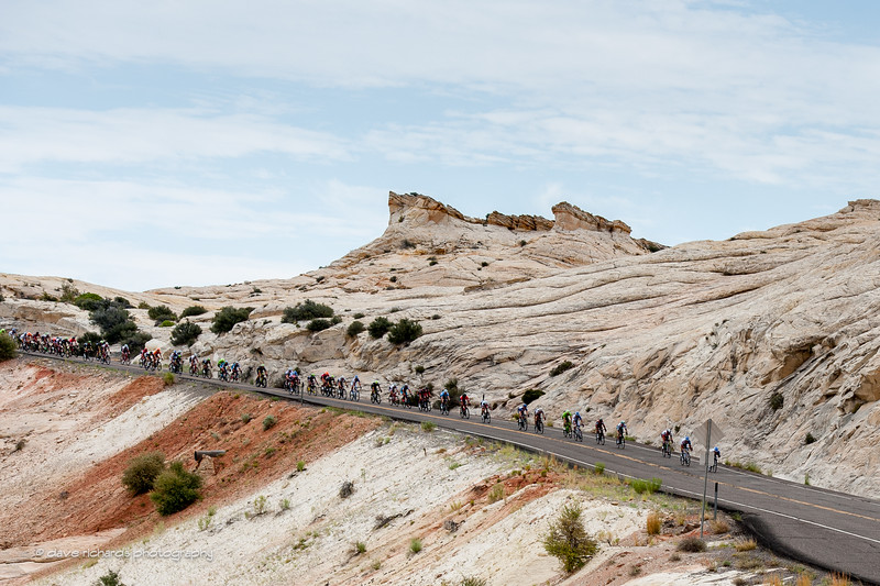 lunar landscape greets the riders as they descend down to Calf Creek, Stage 2, 2016 Tour of Utah