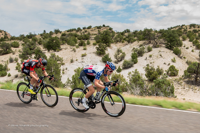 Gregory Daniel (Axeon Hagens Berman) current USA National Road Champion  with Tom Bohli (BMC Racing) form an early break during Stage 2, 2016 Tour of Utah