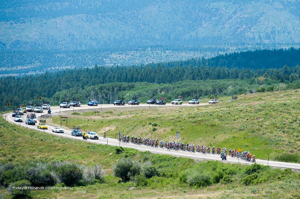 peloton climbing up Boulder Mountain, Stage 2, 2016 Tour of Utah
