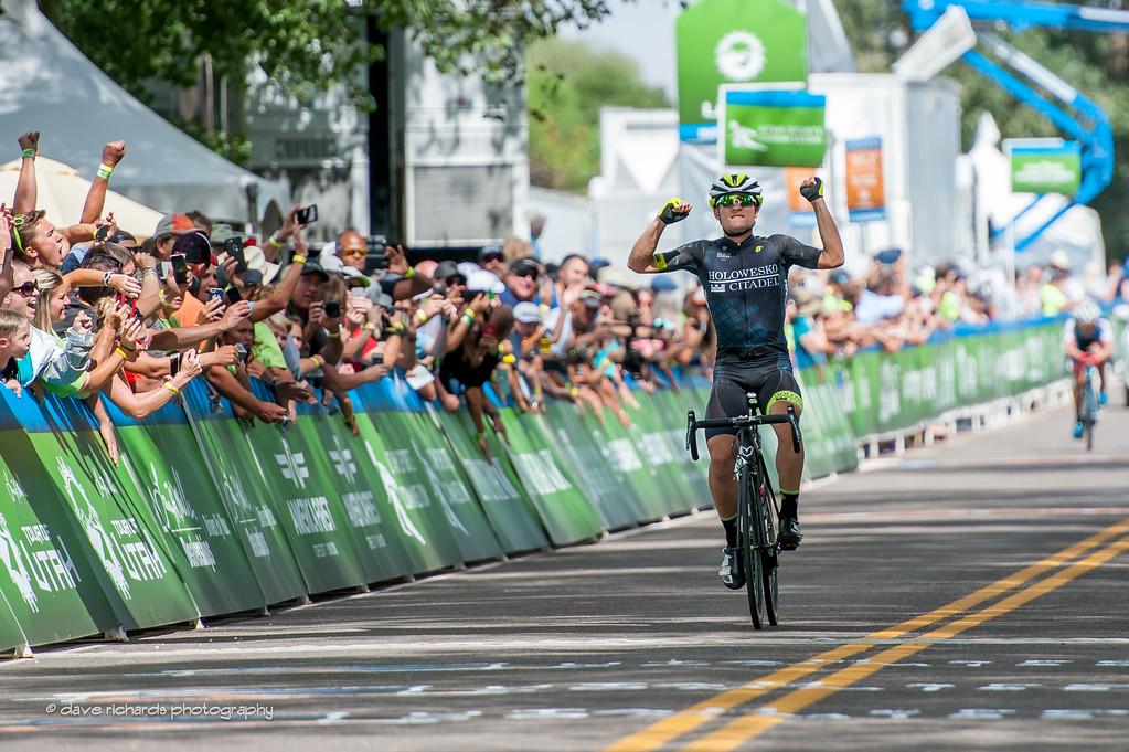Robin Carpenter (Holowesko/Citadel Hincapie)  celebrates winning after  riding a long, hard fought two man breakaway,  Stage 2, 2016 Tour of Utah