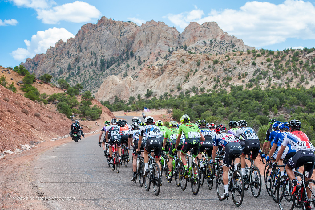 riding up towards jagged rock formations out on Teasdale Road, Stage 2, 2016 Tour of Utah