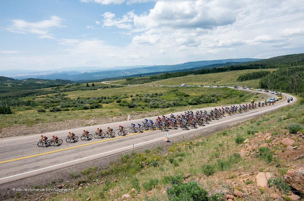 riders are strung out as the Silber Pro Cycling Team drills the climb up Boulder Mountain chasing the breakaway, Stage 2, 2016 Tour of Utah