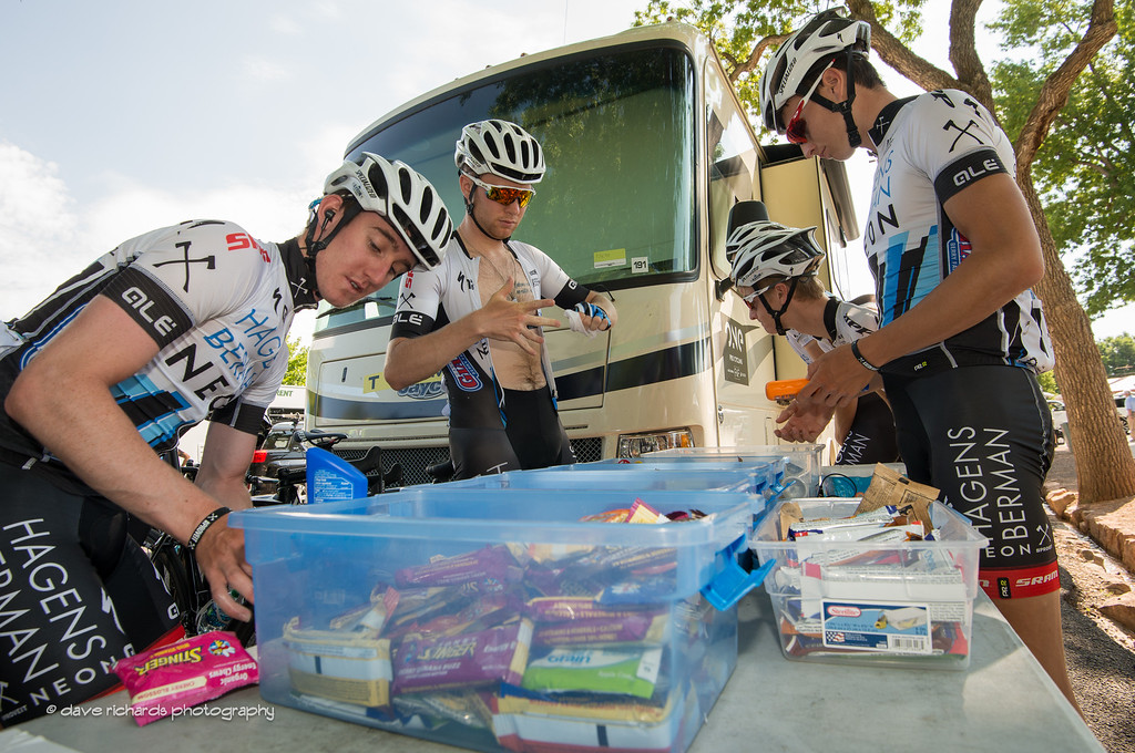 it's going to be a long day in the saddle so the Axeon Hagens Berman riders stock up on fuel prior to the start of Stage 3, 2016 Tour of Utah