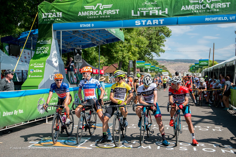the race leaders are called to the start line for Stage 3, 2016 Tour of Utah