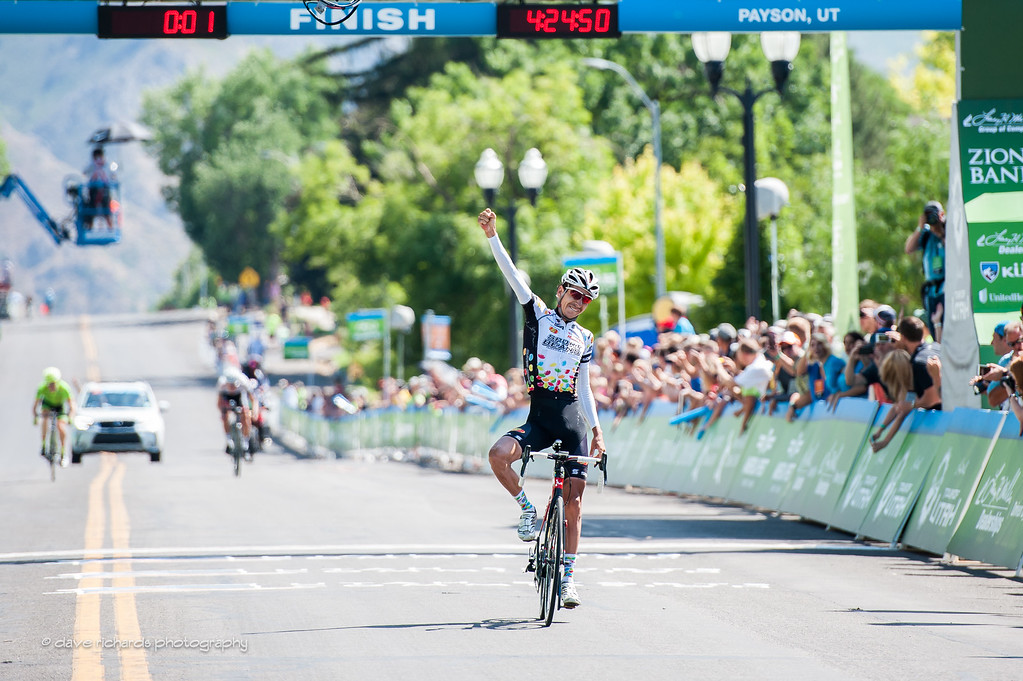Lachlan Morton (Jelly Belly Maxxis) celebrates the win on Stage 3, 2016 Tour of Utah