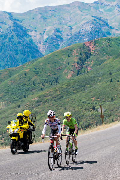breakaway riders Morton (Jelly Belly Maxxis) and Talansky (Cannondale Drapac) on the steep grades up Mt. Nebo, Stage 3, 2016 Tour of Utah