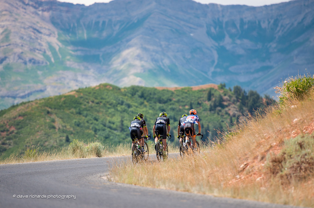 riders roll off into the distance on Mt. Nebo, Stage 3, 2016 Tour of Utah