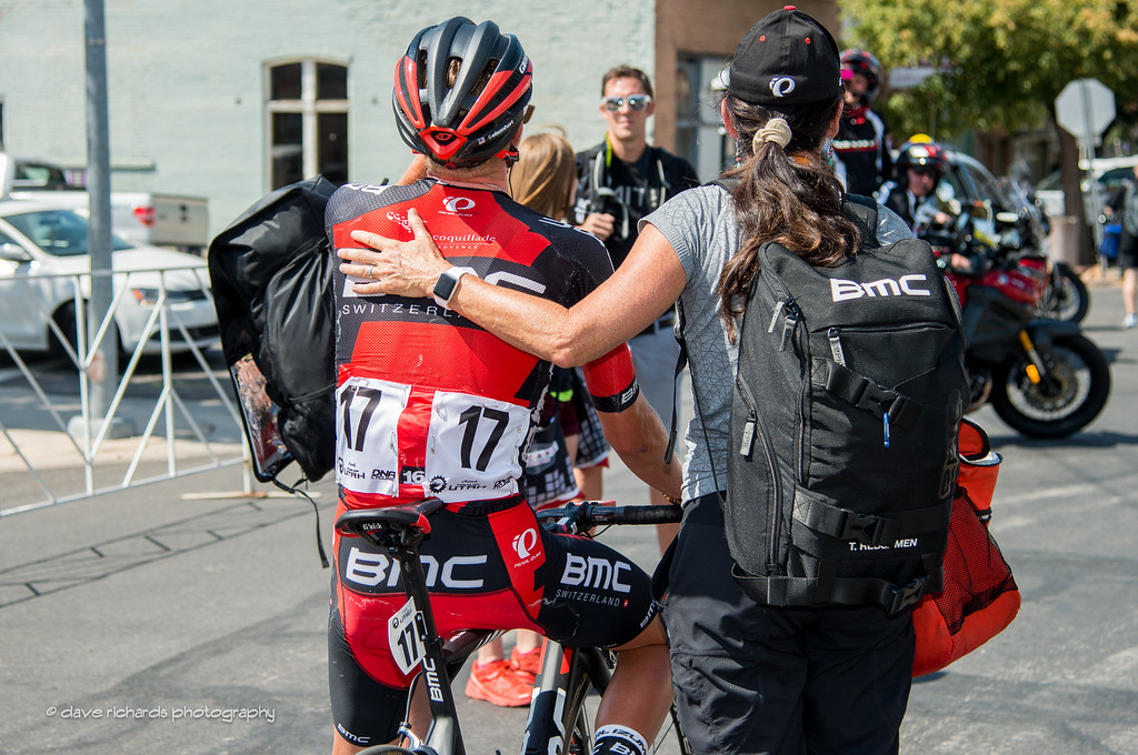 TJ Eisenhart (BMC Racing) is in the capable hands of the team soigneur after taking 7th place on the grueling long Stage 3, 2016 Tour of Utah