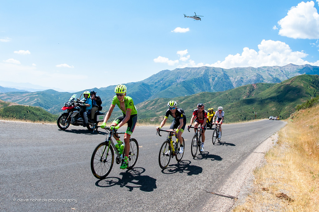 defending Tour of Utah winner Joe Dombrowski (Cannondale Drapac) leads the chasers on the Mt. Nebo climb as the TV helicopter hovers overhead, Stage 3, 2016 Tour of Utah
