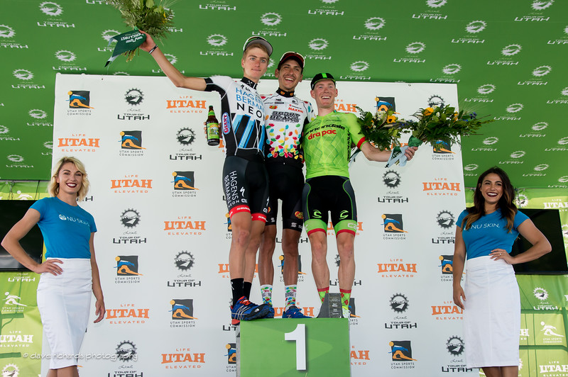 Stage 3 winners L-R: 2nd place Adrien Costa (Axeon Hagens Berman), 1st place Lachlan Norton (Jelly Belly Maxxis) & 3rd place Andrew Talansky (Cannondale Drapac), 2016 Tour of Utah