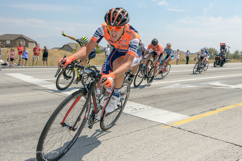 Nippo Fantini rider cuttin' it close in a turn out on Mountain View Corridor Hwy, Stage 4, 2016 Tour of Utah