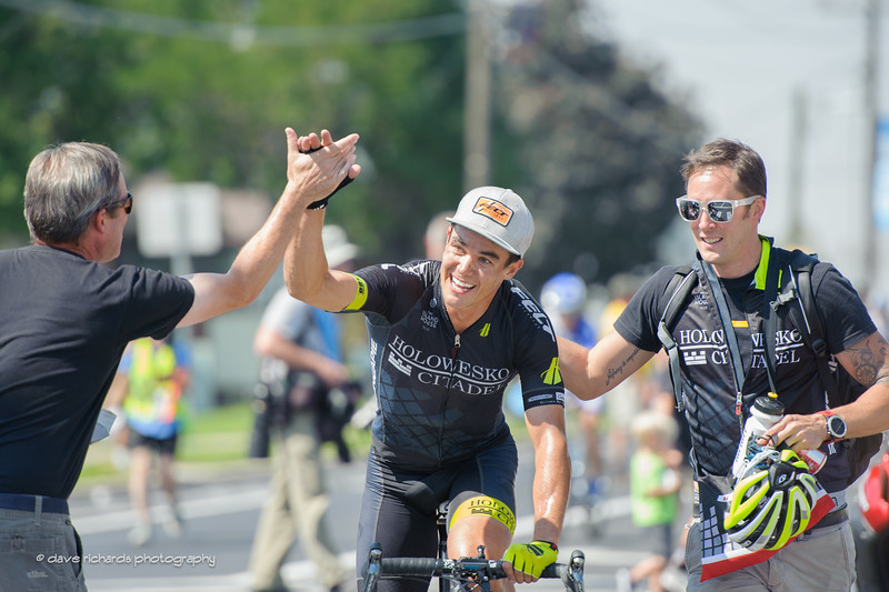 Travis McCabe (Holowesko/Citadel Hincapie) is congratulated by his team for the win on Stage 4, 2016 Tour of Utah