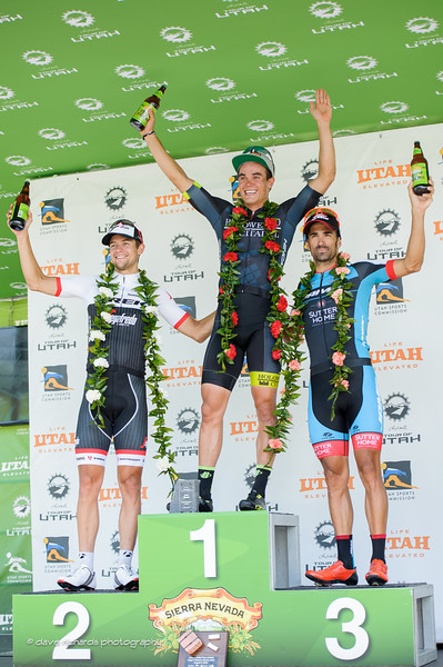 Stage 4 winners L-R: 2nd place Kiel Reijnen (Trek Segafredo), 1st place Travis McCabe (Holowesko/Citadel Hincapie) 3rd place Lucas Sebastian Haedo (Team Jamis) 2016 Tour of Utah