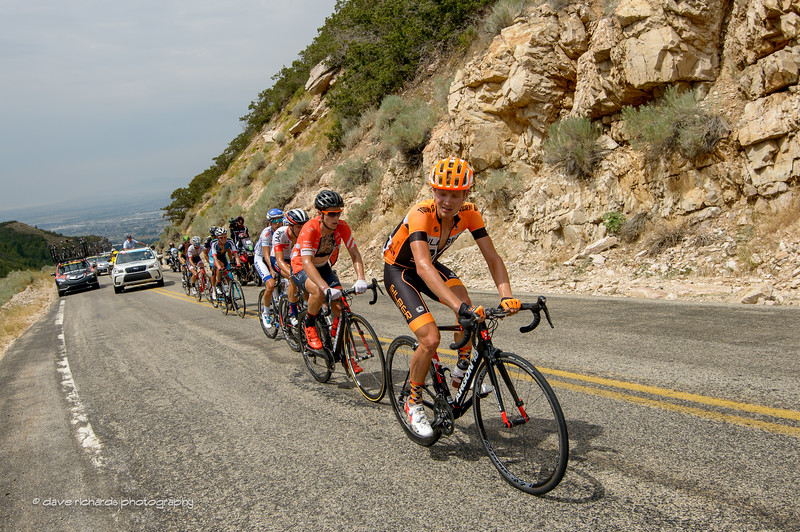 the breakaway climbs in the hot sun up North Ogden Divide, Stage 5, 2016 Tour of Utah