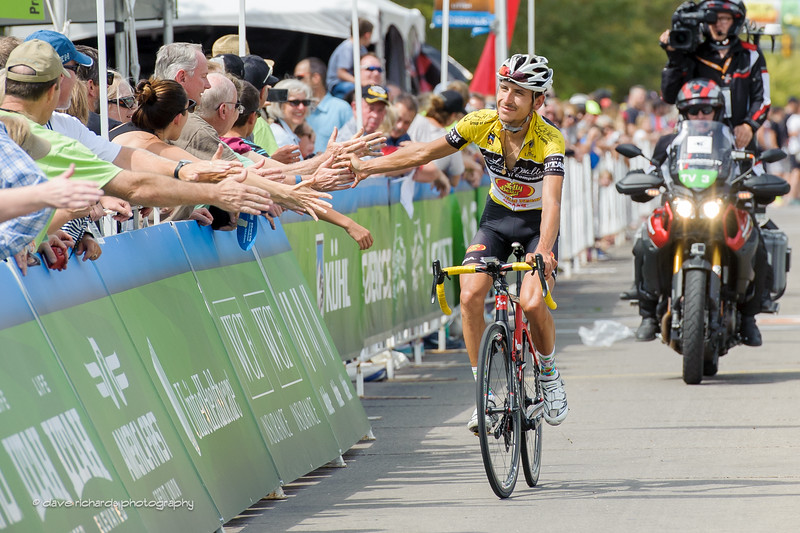 yellow jersey leader Lachlan Morton (Jelly Belly Maxxis) high fives the fans along the finish of  Stage 5, 2016 Tour of Utah