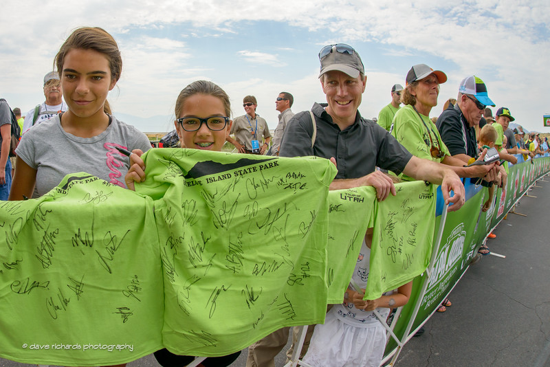 young fans show off their autograph collections at the sign-in for Stage 5, 2016 Tour of Utah