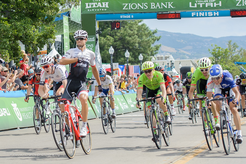 Reijnen (Trek Segafredo) celebrates his win during a hard fought sprint on Stage 5, 2016 Tour of Utah