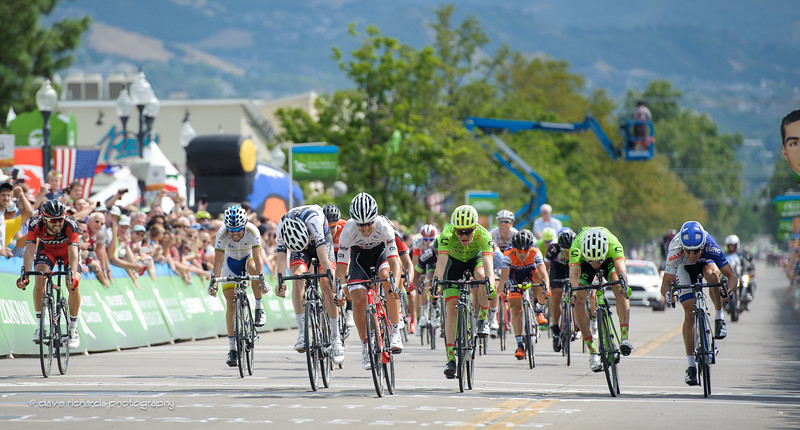 "Kiel Reijnen (Trek Segafredo) takes the sprint to win Stage 5 as ""Papa John"" looks on, 2016 Tour of Utah"