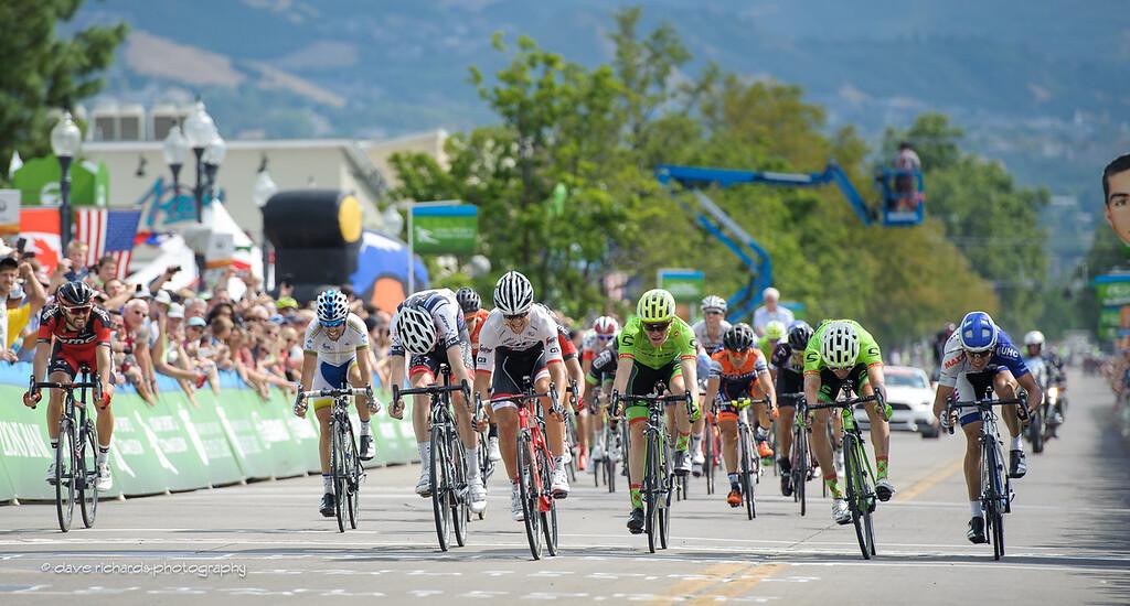 """Kiel Reijnen (Trek Segafredo) takes the sprint to win Stage 5 as """"Papa John"""" looks on, 2016 Tour of Utah"""