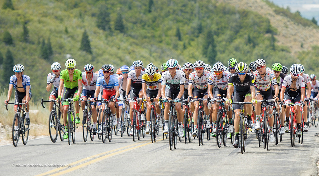 yellow jersey leader Morton (Jelly Belly Maxxis) front and center protected by his teammates on the North Ogden Divide, Stage 5, 2016 Tour of Utah