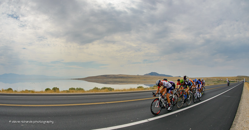 the breakaway hammers the start on Antelope Island  under a cloudy sky on Stage 5, 2016 Tour of Utah