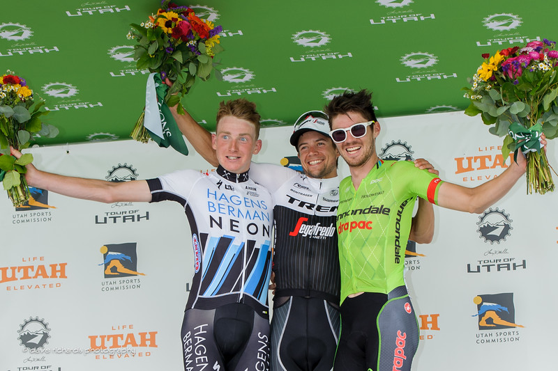 Stage 5 winners L-R: 2nd place Tao Geoghegan Hart (Axeon Hagens Berman) 1st place Kiel Riejnen (Trek Segafredo) 3rd place Alex Howes (Cannondale Drapac), 2016 Tour of Utah