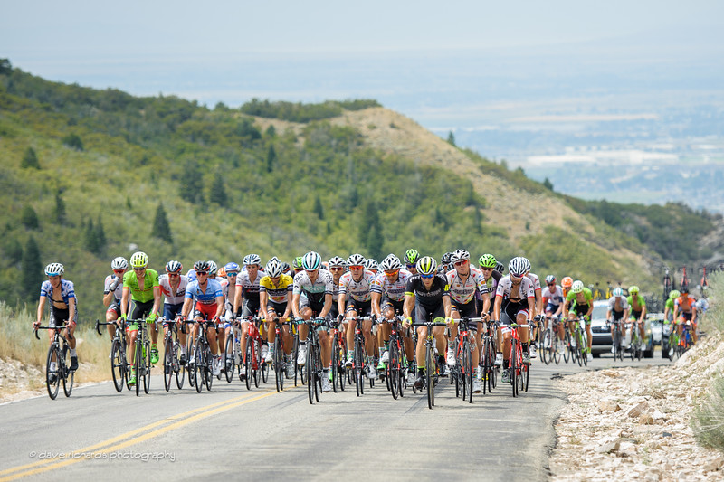 the peloton takes up the whole road climbing during Stage 5, 2016 Tour of Utah
