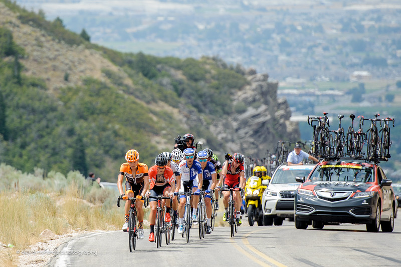 breakaway on the steep category 2 climb up North Ogden Divide, Stage 5, 2016 Tour of Utah