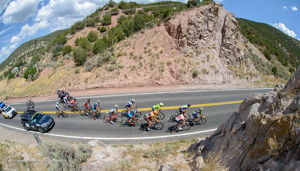 The breakaway slips through the rocks near the town of Echo, Utah. Stage 6, 2016 Tour of Utah. Photo by Dave Richards, daverphoto.com